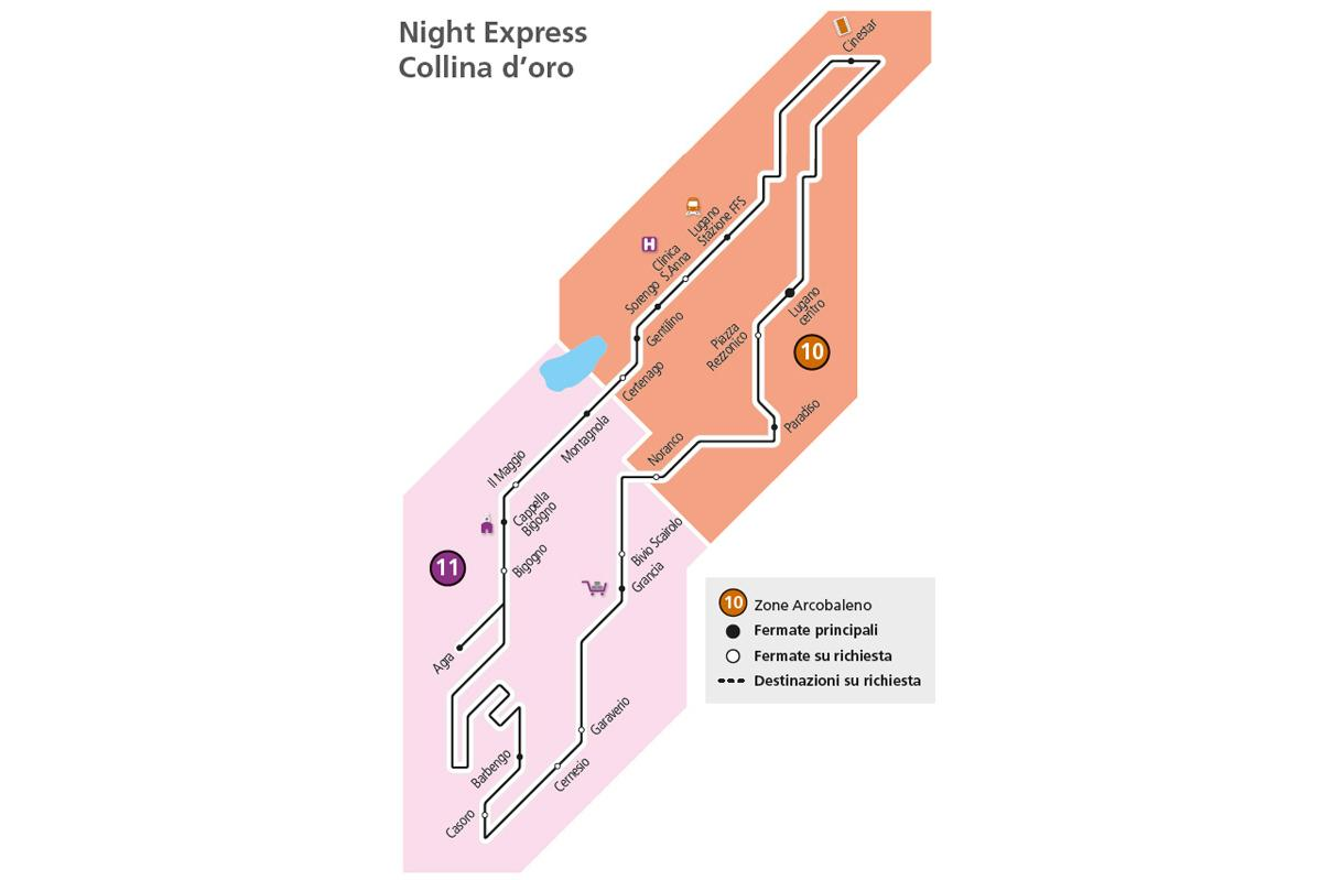 Map: Collina d'oro Night Express