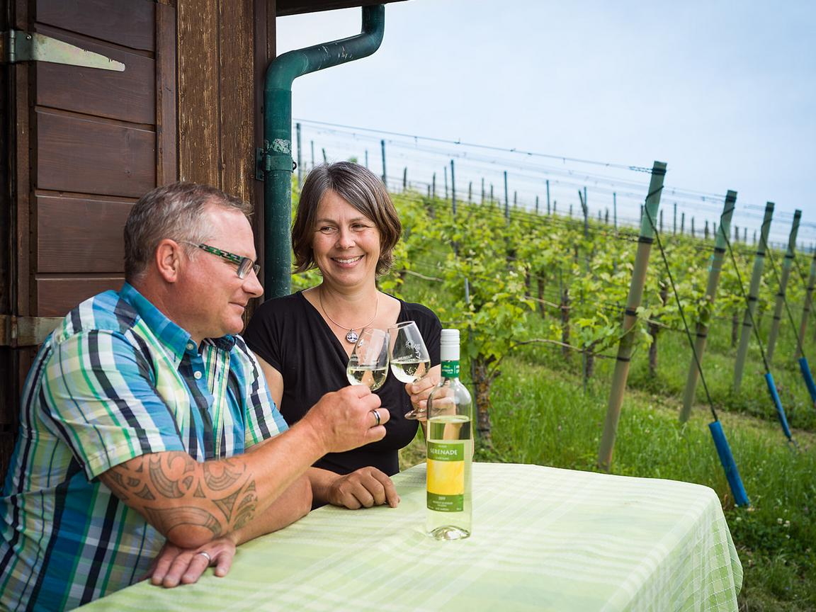 : A man and a woman raise a toast with glasses of white wine